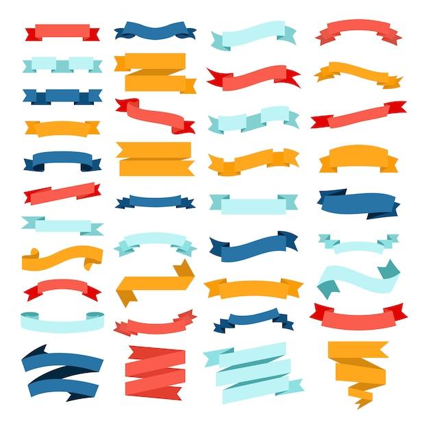 Grupo do vetor de fitas lisas da cor diferente em um fundo branco. Vetor Premium