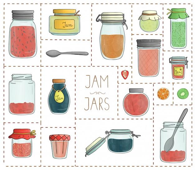 Grupo do vetor de frascos coloridos do atolamento isolados. coleção colorida de alimentos preservados em vasos Vetor Premium