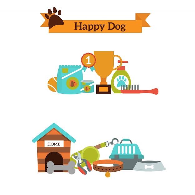 Grupo do vetor de ícones da cor para alimentos para animais de estimação do cão, vetor dos acessórios do animal de estimação. Vetor Premium