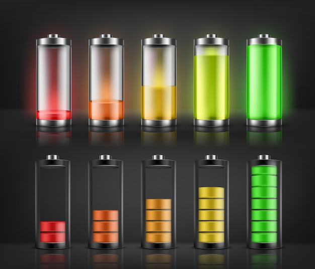 Grupo do vetor de indicadores da carga da bateria com níveis de energia baixos e altos isolados no fundo. cheio Vetor grátis