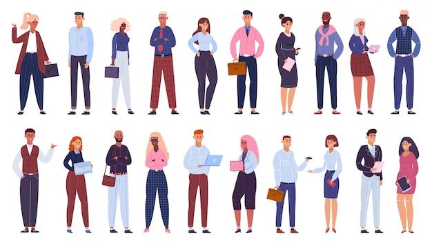 Grupo empresarial multicultural. equipe de trabalhadores de escritório de pessoas, conjunto de ilustração de comunidade de caracteres de colegas de negócios multinacionais. equipe multicultural de negócios, empresário e mulheres Vetor Premium