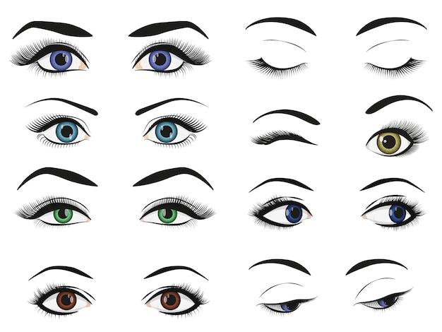 Grupo fêmea da coleção da imagem dos olhos e das sobrancelhas da mulher. Vetor Premium