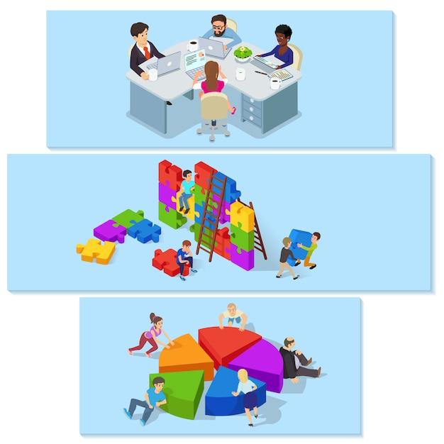 Grupo horizontal do conceito da bandeira do desenvolvimento de equipas. ilustração isométrica de 3 team building conceitos horizontal de banner vector para web Vetor Premium