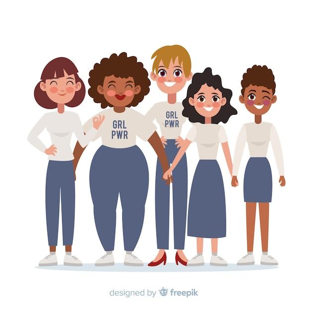 Grupo inter-racial de mulheres Vetor grátis