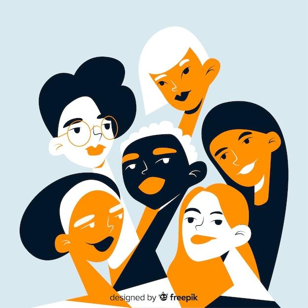 Grupo inter-racial do fundo das mulheres Vetor grátis