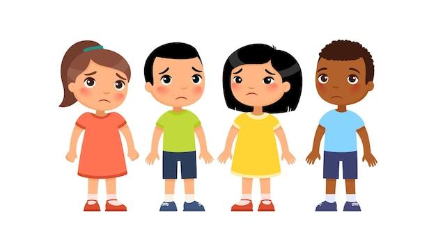 Grupo internacional de crianças tristes punição por mau comportamento personagens de desenhos animados fofos Vetor Premium