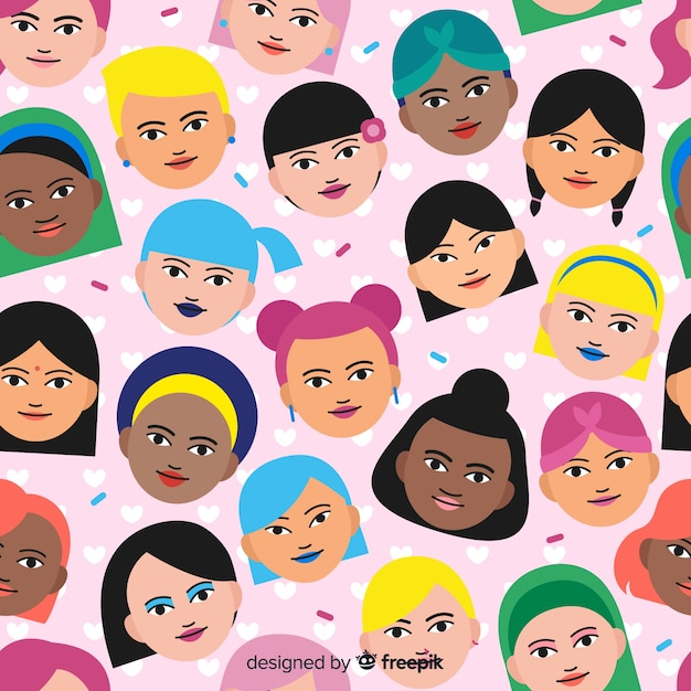 Grupo internacional e interracial do padrão de mulheres Vetor grátis