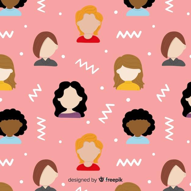 Grupo interracial do padrão de mulheres Vetor grátis