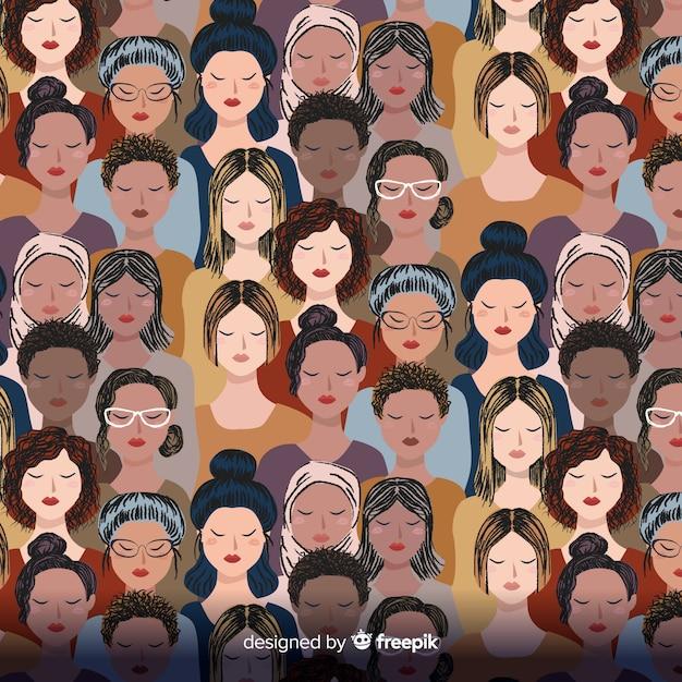 Grupo interracial do padrão de mulheres Vetor Premium