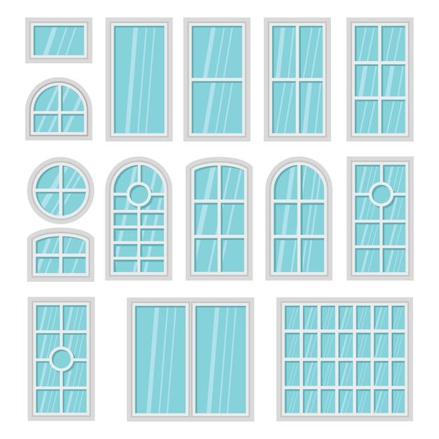 Grupo liso dos desenhos animados de windows 3d isolado. Vetor Premium
