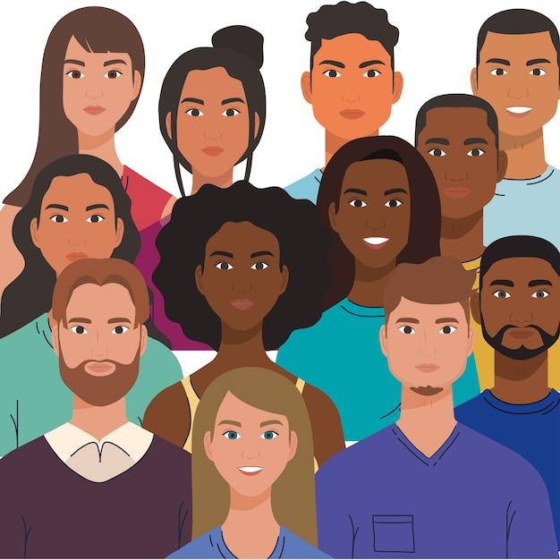 Grupo multiétnico de pessoas juntas, conceito de diversidade e multiculturalismo. Vetor Premium