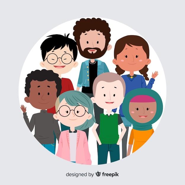 Grupo multirracial de fundo de pessoas Vetor grátis