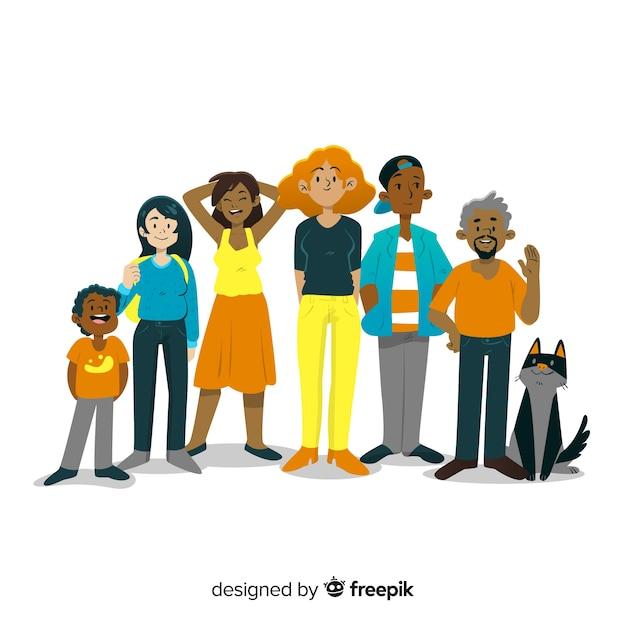 Grupo multirracial de pessoas diferentes Vetor grátis