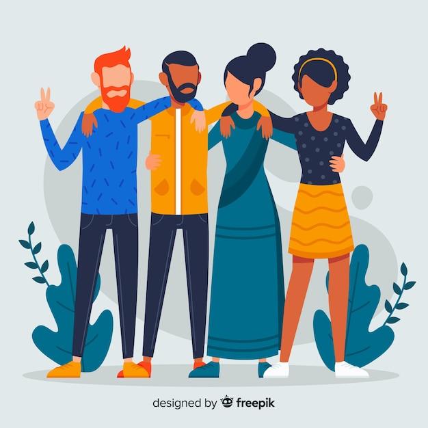 Grupo multirracial plano de pessoas Vetor grátis