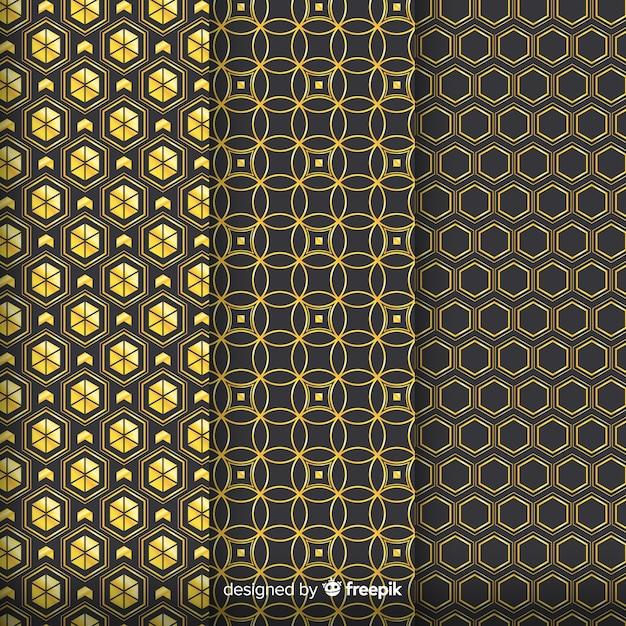 Grupo padrão geométrico de luxo dourado Vetor grátis