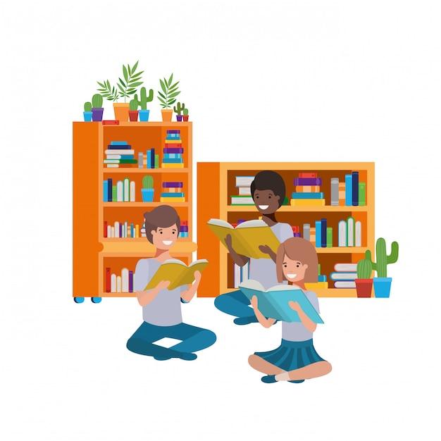 Grupo pessoas, sentando, com, pilha livros Vetor Premium