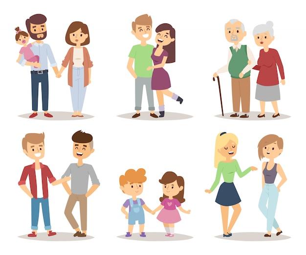 Grupo relaxado da ilustração dos desenhos animados dos pares dos povos. Vetor Premium