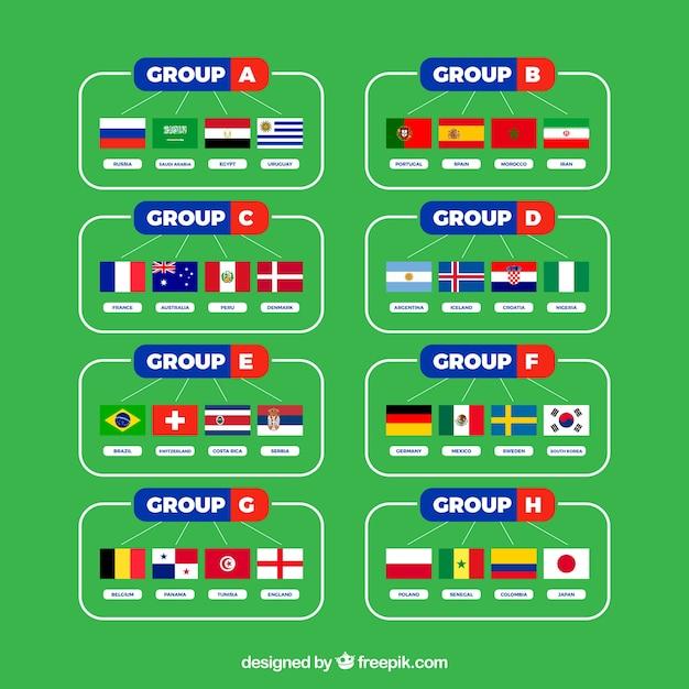 Grupos de campeonato do mundo de futebol com bandeiras diferentes Vetor grátis
