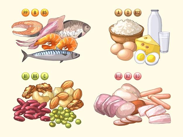 Grupos de produtos frescos que contém diferentes vitaminas Vetor Premium
