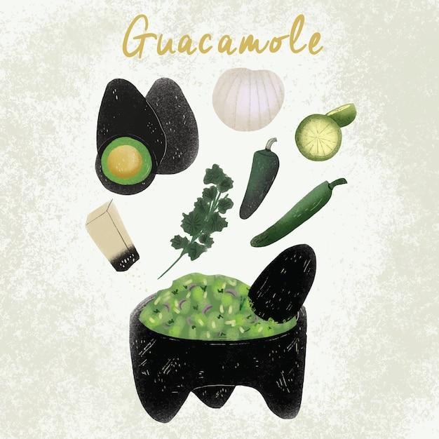 Guacamole mexican food - hand drawn recipe Vetor Premium