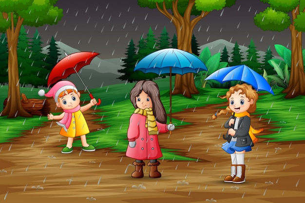 Guarda-chuva de três garota cartoon Vetor Premium