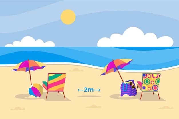 Guarda-chuvas nas praias distanciamento social Vetor grátis
