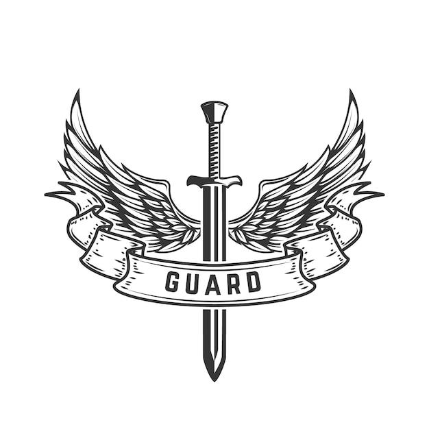 Guarda. modelo de emblema com espada alada. ilustração Vetor Premium