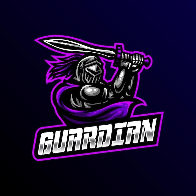 Guardian mascot logo esport gaming Vetor Premium