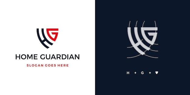 Guardião da casa escudo ou letra h + g escudo seguro logotipo Vetor Premium