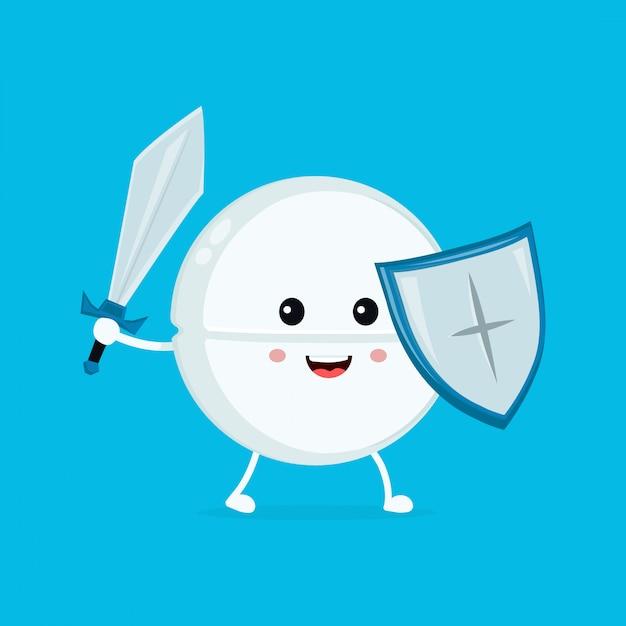 Guardião de pílula tablet engraçado engraçado feliz bonito com espada e escudo. ícone de ilustração de personagem de desenho animado plana. pílula, comprimido, saúde, antibiótico médico Vetor Premium