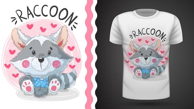 Guaxinim bonito da peluche - ideia para o t-shirt da impressão Vetor Premium