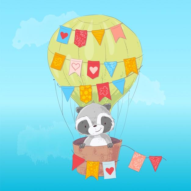Guaxinim bonito voando em um balão. estilo dos desenhos animados. vetor Vetor Premium