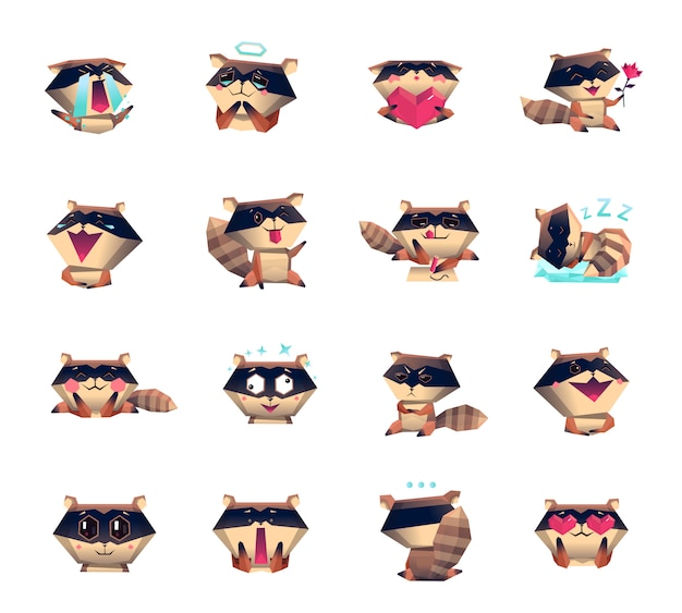 Guaxinim cartoon personagem ícones grande conjunto Vetor grátis