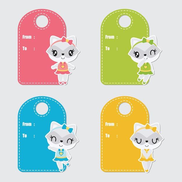 Guaxinim colorido bonito personalizado para conjunto de etiquetas de presente de aniversário Vetor Premium