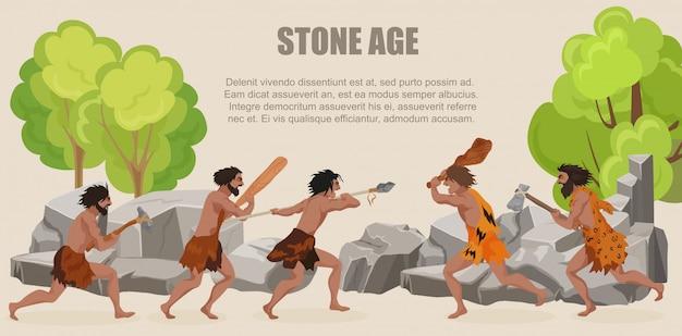 Guerra da idade da pedra, tribos de homens primitivos lutando Vetor Premium