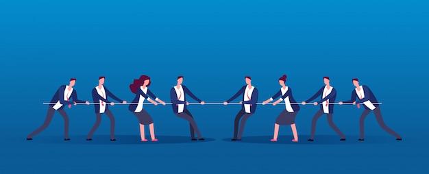 Guerra de equipe. pessoas de negócios rivais puxando a corda. concorrência, conflito no conceito de vetor de escritório Vetor Premium