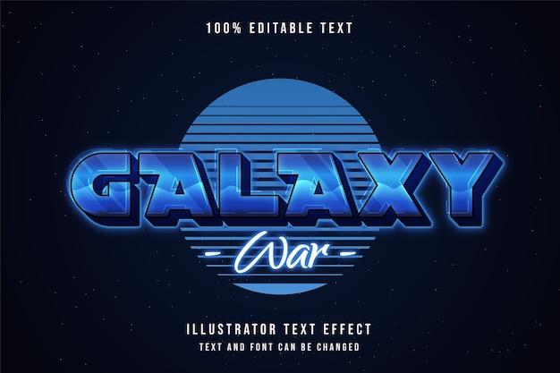 Guerra de galáxias, efeito de texto editável gradação azul estilo de texto neon roxo Vetor Premium