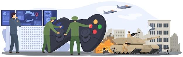 Guerra, povo do exército militar, batalha de soldados, ataque das forças aéreas e terrestres, força do tanque, ilustração de aviões. Vetor Premium