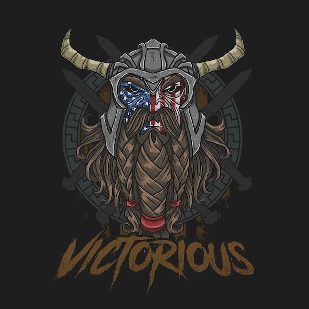 Guerreiro da américa corajoso ilustração vector Vetor Premium