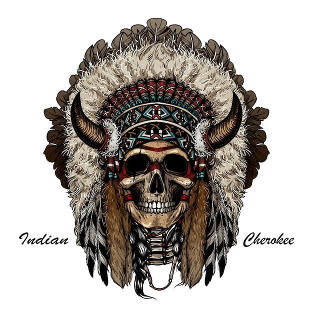 Guerreiro do apache do crânio Vetor Premium