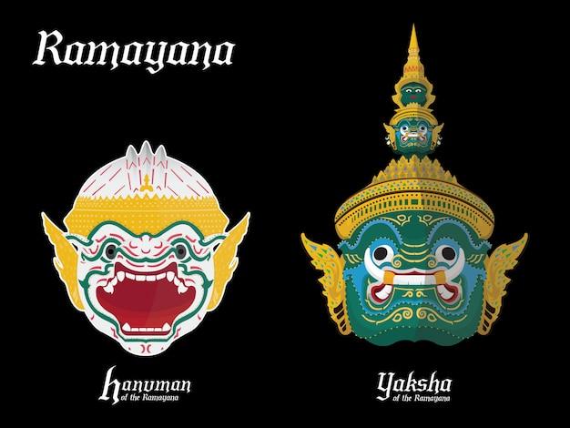 Guerreiro do ramayana na tailândia Vetor Premium