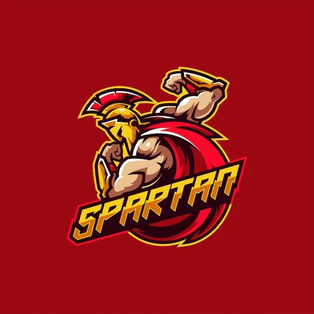Guerreiro espartano esports e logotipo de jogos Vetor Premium