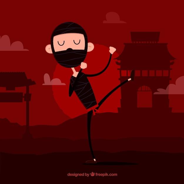 Guerreiro ninja plana em fundo vermelho Vetor grátis