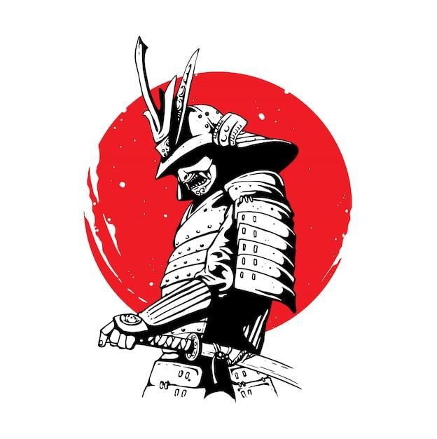 Guerreiro samurai Vetor Premium