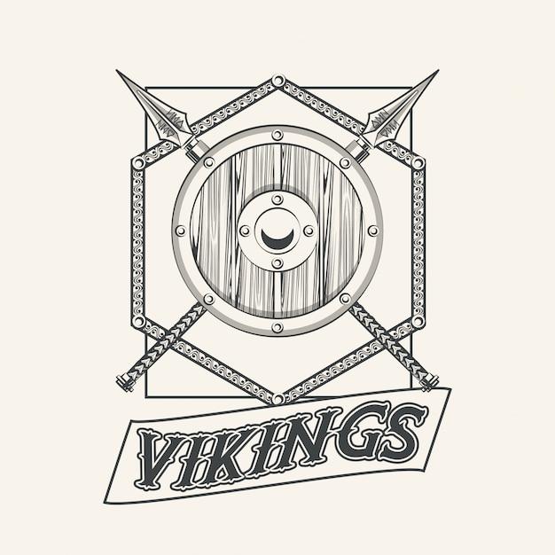 Guerreiros de viquingues impressos Vetor grátis