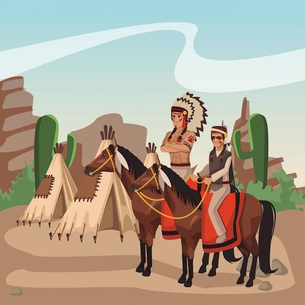 Guerreiros Indios Americanos Em Cavalos No Desenho Animado Da