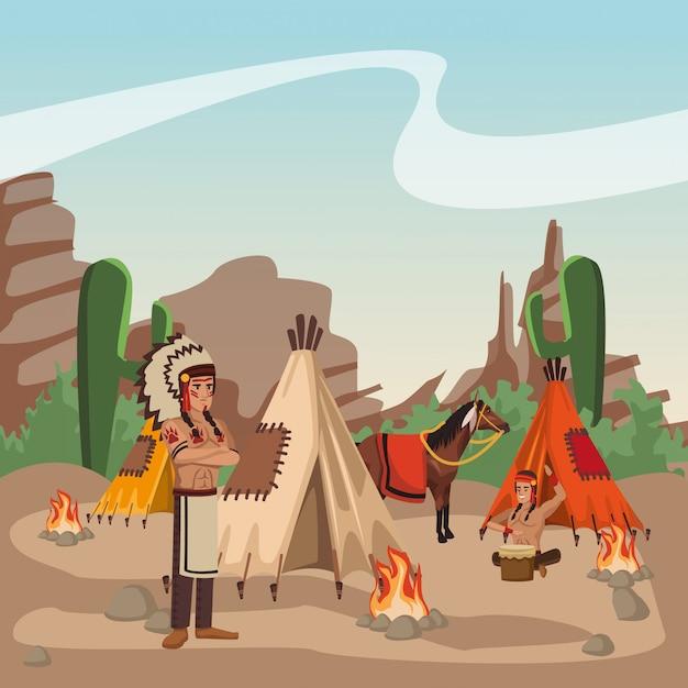 Guerreiros Indios Americanos No Desenho Animado De Aldeia Vetor