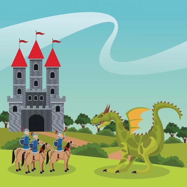 Guerreiros medievais do reino Vetor Premium