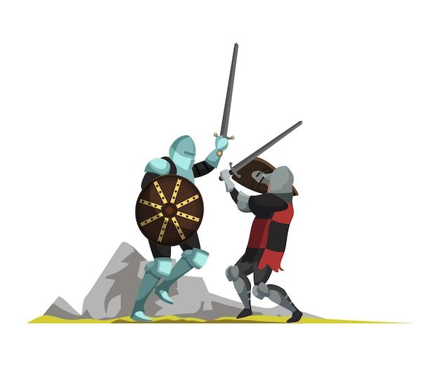 Guerreiros medievais lutando com espadas ilustração plana, cena de guerra da idade média, personagens de desenhos animados de guerreiros armados. elemento de design isolado de torneio, justa, lutadores antigos Vetor Premium