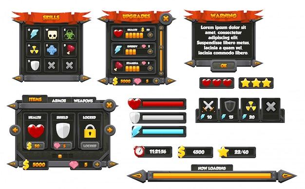 Gui jogo medieval Vetor Premium
